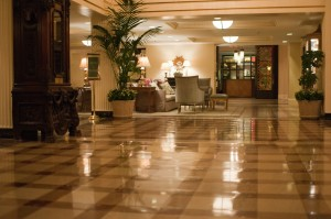 Clean hotel lobby floor - Tidy provides stone care and restoration, floor stripping and waxing