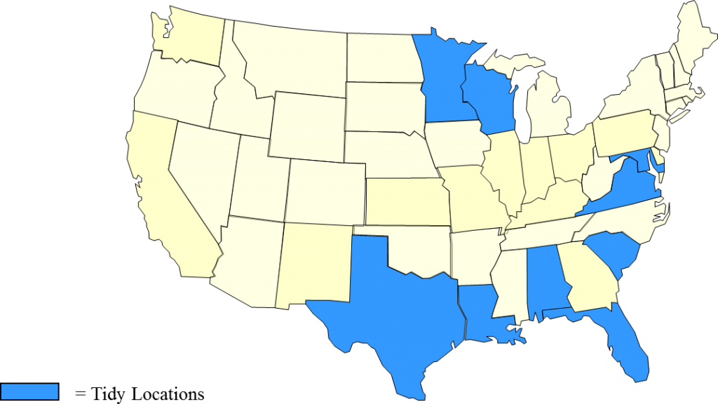 Map of the states that Tidy provides services for including Alabama, Florida, Louisiana, Maryland, Minnesota, South Carolina, Texas, Virginia, Washington, DC and Wisconsin